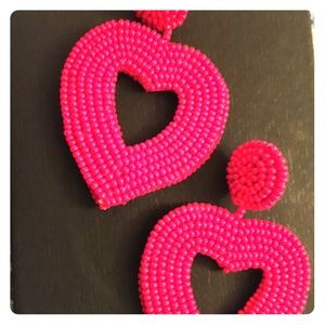 Heart shaped beaded earrings posts